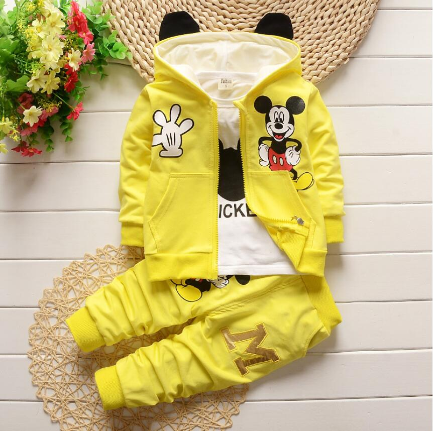 2017 Autumn Baby Boys Girls Clothes Sets Cute Minnie Infant Cotton Suits Coat+T Shirt+Pants 3Pcs Casual Sport Kids Suits Clothes