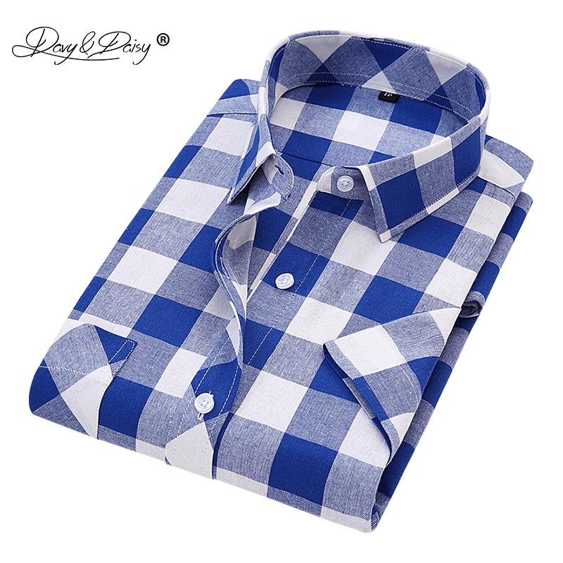 DAVYDAISY 2019 New Arrival Summer Men Shirts Man Classic Plaid Short Sleeve Shirt Fashion Casual Man Camisa Masculina DS241