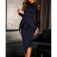 Sheer Mesh Sleeve Peplum Irregular Dress Women Fake 2 Piece Set Elegant Office Dress Summer 2019 Bodycon Party Dresses Vestidos