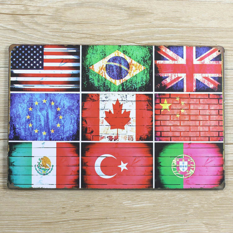 New Arrival Xd317 Metal Tin Signs Countries Flags Vintage Metal Signs Home Decor House
