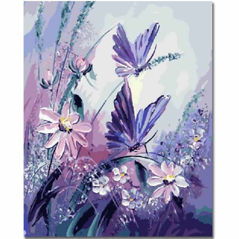 KLBPL Paint By Numbers Pink Butterfly Girl Paint By Numbers Kits With Brushes And Acrylic Pigment Diy Canvas Painting For Adults Beginner 40.6X50.8Cm Without Frame