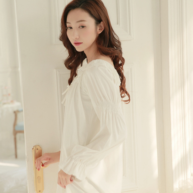 Free Shipping Palace female cotton Nightgown long sleeved autumn ...