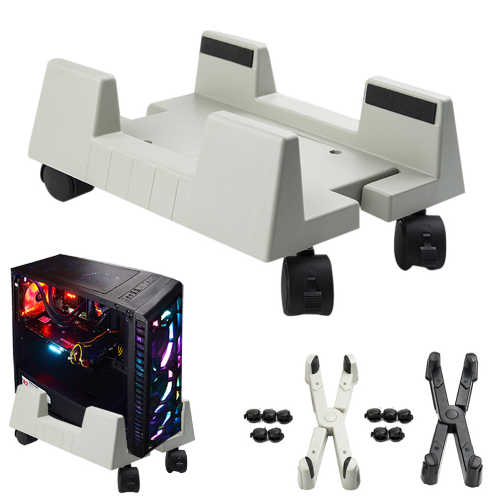 PC Computer CPU Stand Plastic Case Holder With Brake Wheels XXM8