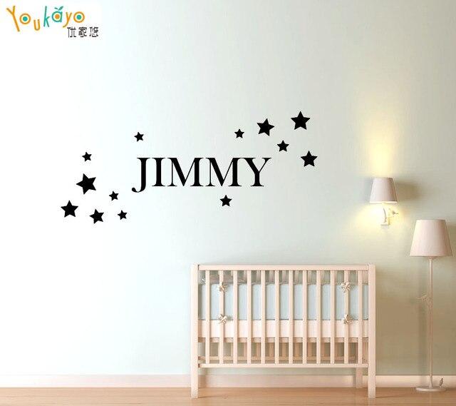 Stars custom name removable vinyl wall sticker decal kids room bedroom nursery