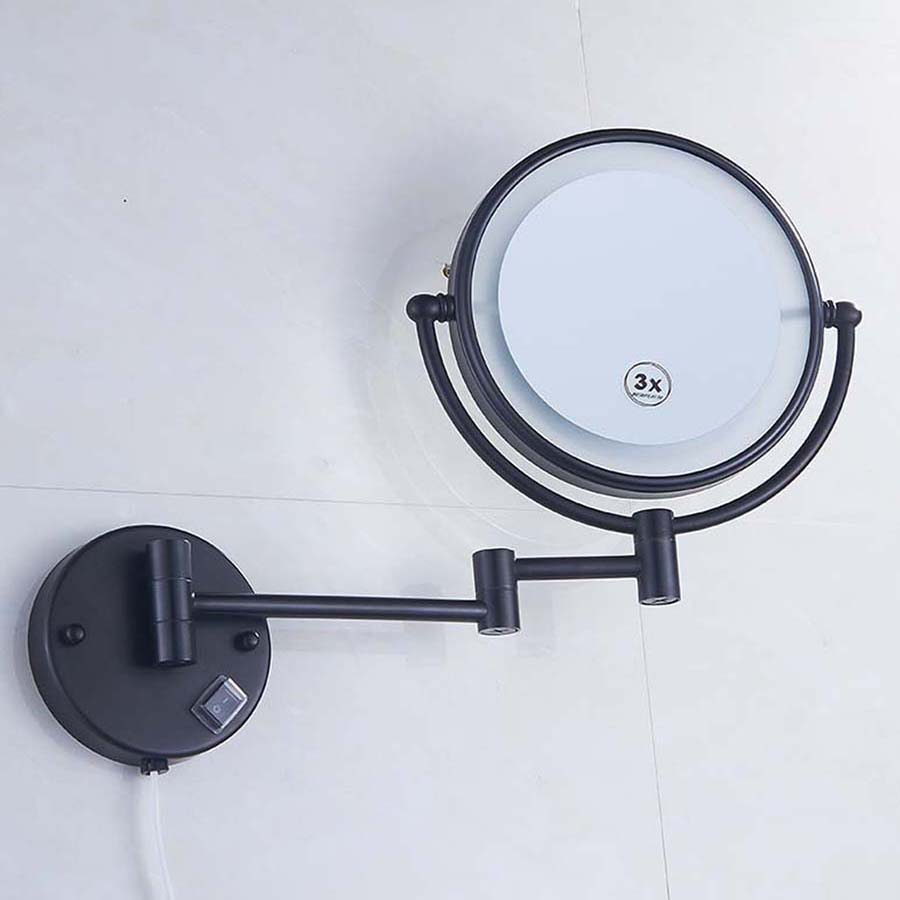 Brass LED Lamp Mirror For Bathroom 8 Round Double Sides 3X 5X Bathroom Cosmetic Wall Mount