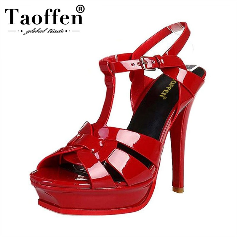 c261fee68 TAOFFEN Free Shipping Quality Genuine Leather 9cm 14cm High Heel Sandals  Women Sexy Footwear Fashion