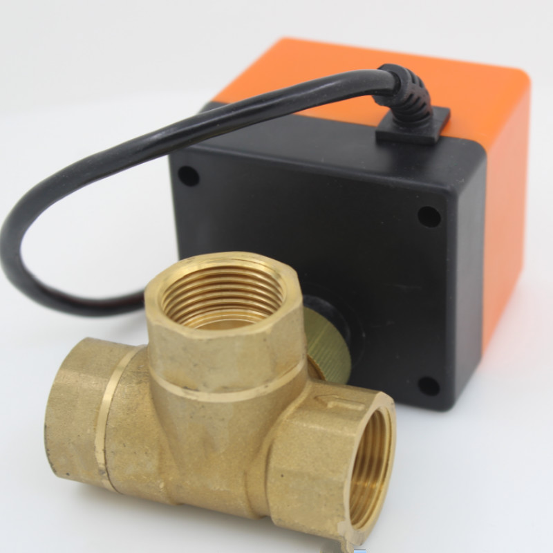 цена на DC12V 3 way 3 wires brass electric actuator motorized ball valve for solar water heater fan coil DN15 DN20 DN25 DN32 DN40