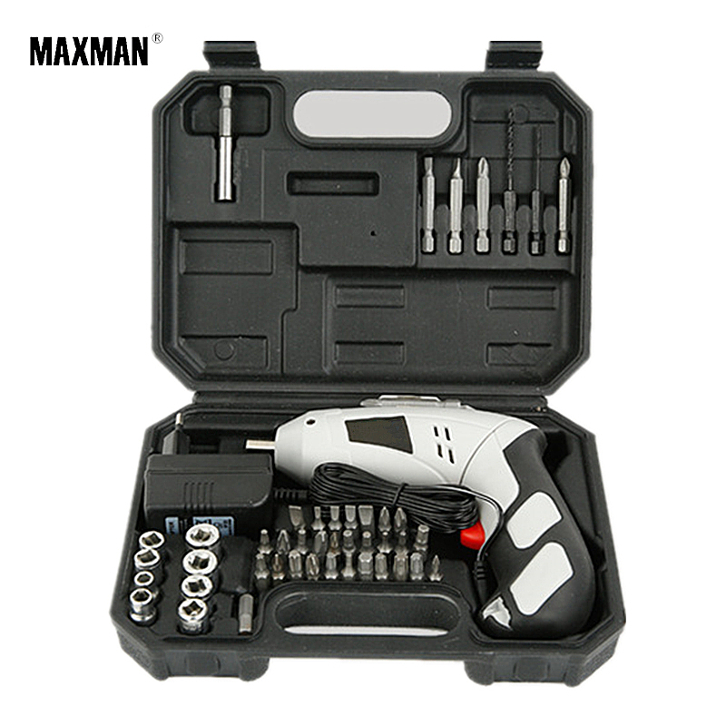 MAXMAN 4.8V 45pcs Set Cordless Screwdriver Electric Drill Rechargeable Electric Battery Screwdriver Dremel DIY Power Tool