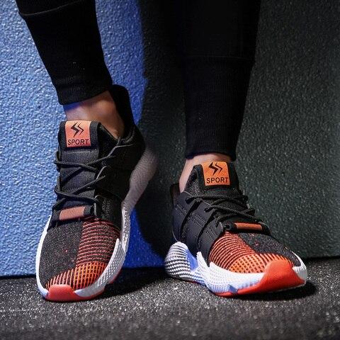 2019 de Alta Qualidade Voar Tecelagem Men Running Shoes Respirável Não escorregar Sneakers Fundo Grosso Primavera Sapatos Masculinos Plus Size 39 46