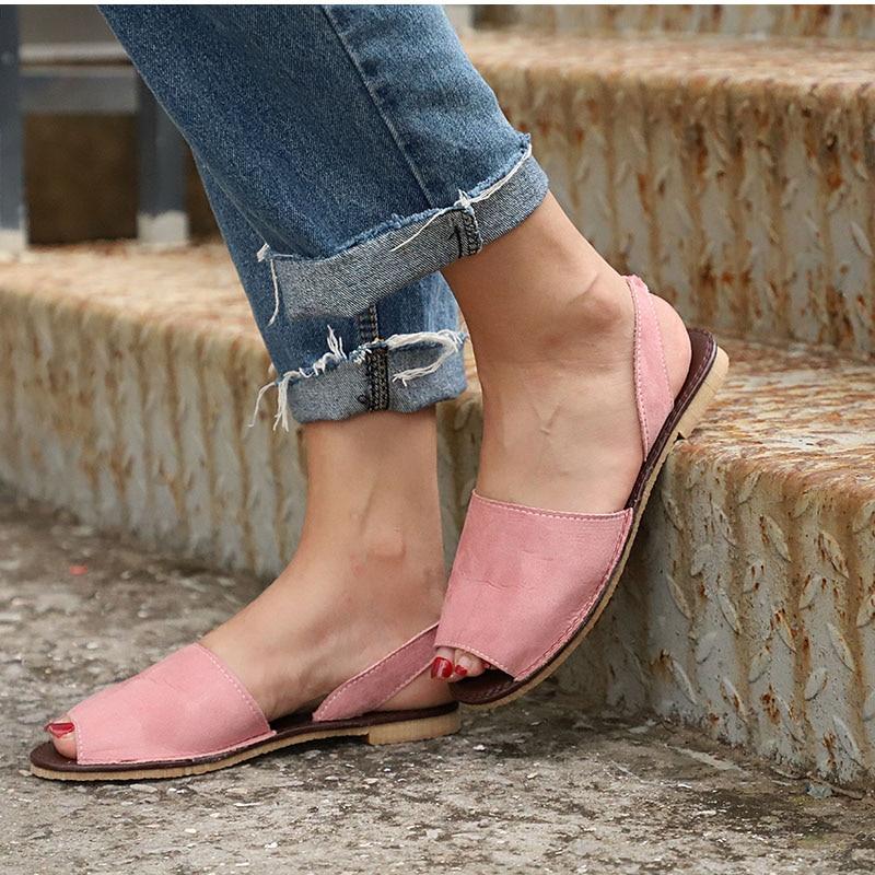 HTB1.keODFGWBuNjy0Fbq6z4sXXaz MCCKLE Summer Sandals Women Plus Size Flats Female Casual Peep Toe Shoes Faux Suede Slip On Elastic Band Leisure Solid Footwear