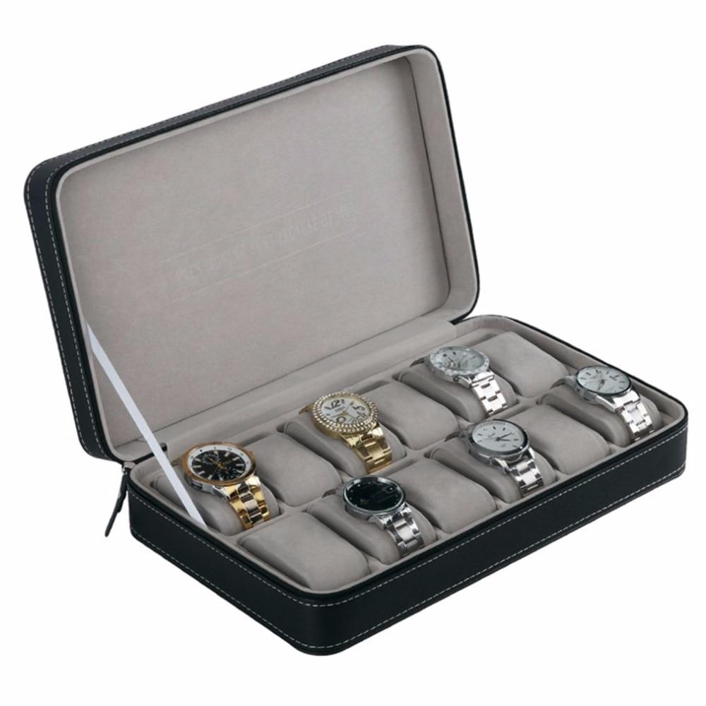 12/10/6 Gürtet Pu Leder Schmuck Uhr Box Display Container Armband Armbanduhr Schatullen Fall Geschenk Uhren Display Lagerung Box
