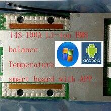 14S 100A lipo литий-полимерный BMS/PCM/PCB плата защиты батареи для 18650 литий-ионный аккумулятор с балансом w/APP