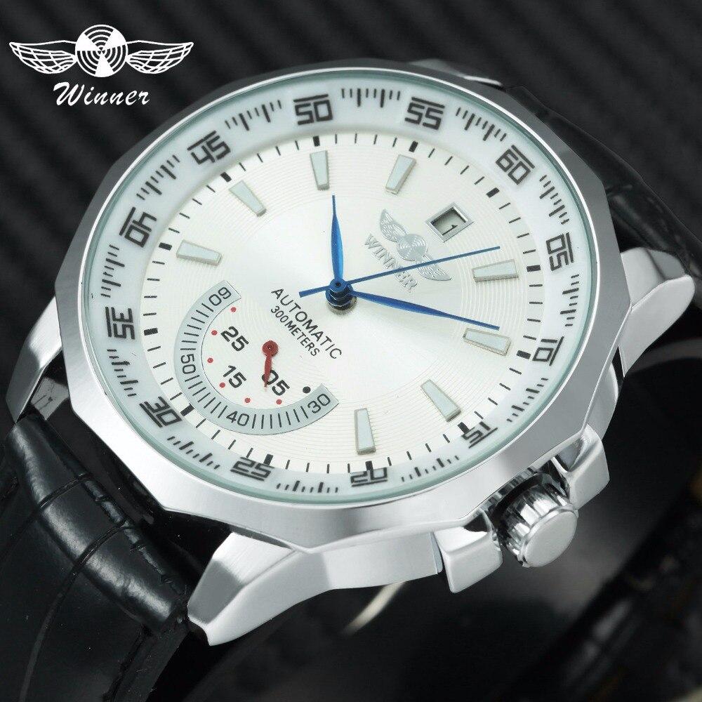 GEWINNER Militär Sport Uhr Männer Auto Mechanische Arbeits Sub-dials Kalender Blau Zifferblatt Lederband Herren Uhren Top Marke luxus