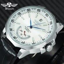 Победитель военные спортивные часы Для мужчин Авто Механические рабочих суб-набор календарь синий циферблат кожа мужские часы на ремне лучший бренд класса люкс