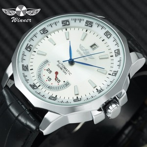 WINNER Official Military Sports Watch Men Automatic Mechanical Sub-dials Calendar Leather Strap Mens Watches Top Brand Luxury(China)
