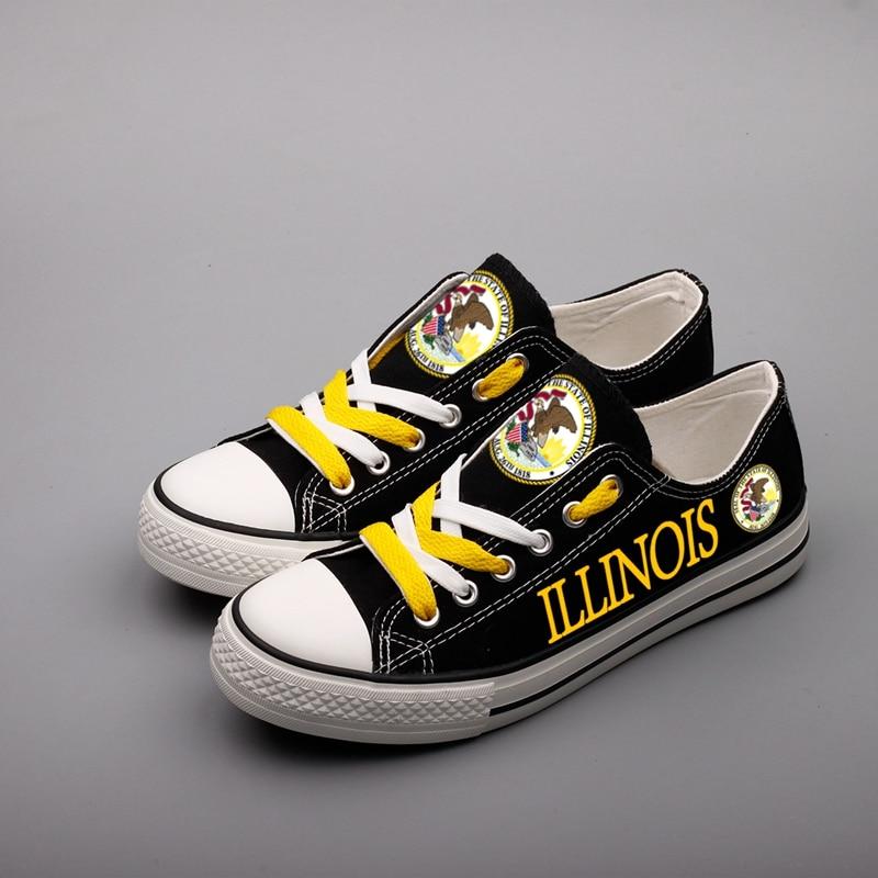E-LOV Fashion Design US Logo American Canvas Shoes Illinois State Map Printing Casual Flat Shoes Tenis Masculino Adulto