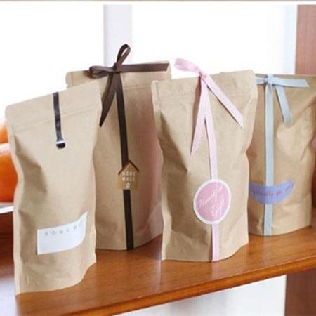 Standup Greaseproof Craft Paper Bag Gift Packaging Kraft Brown Paper