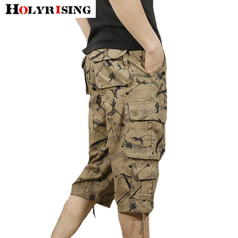 Holyrising Summer Shorts Cotton Men Short Loose Masculino Camouflage Pockets Comfortable Shorts Homens 4Style Size 28-44 18850-5