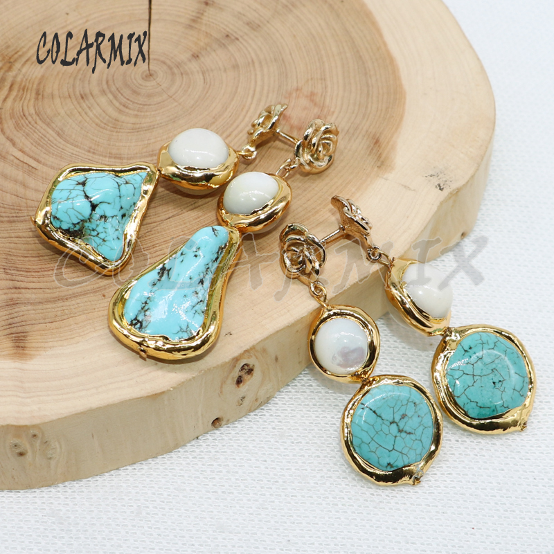 5 pairs Blue stone earrings stone beads earrings dangle earrings gems jewelry for women earrings gift 4969