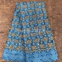 R hinestonesลูกปัดตาข่ายฝรั่งเศสสุทธิลูกไม้สีฟ้าแอฟริกันVoileสวิสในสวิสไนจี