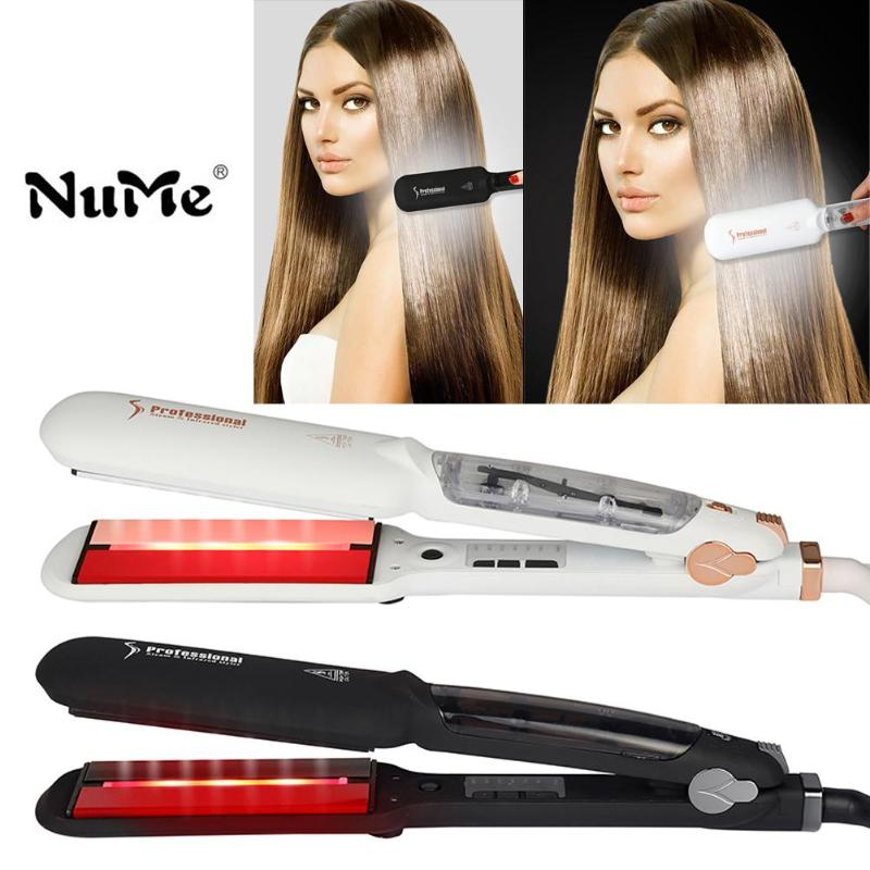 Professional Electric Hair Straightener Plat Iron Anion Steaming Dry Wet Use Hair Straightner Curler Styling Tool