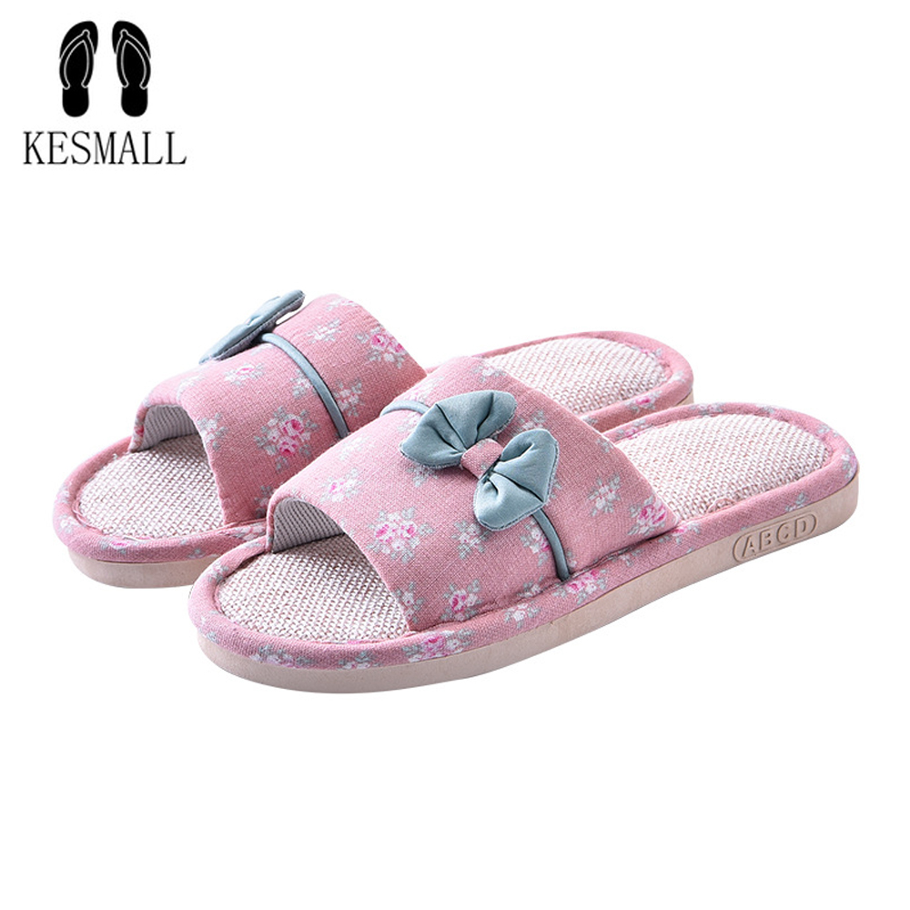 KESMALL Women' Flat Slippers Linen Home Slippers Female Bedroom Slippers Indoor Shoes Summer Hemp Beach Slippers Flip-flop WS205 2017 hot sale women flip flop slippers female summer indoor anti slip slippers soft lightweight shoes size 36 40 available