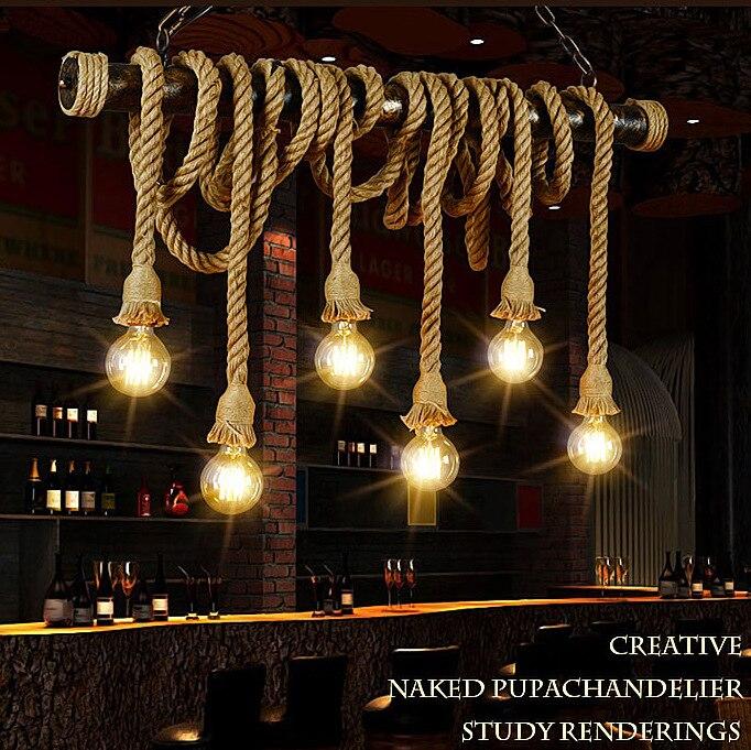 Industrial retro Rope hanging lights loft chandelier restaurant suspended lamps living room fixtures Cafe bar deco lighting
