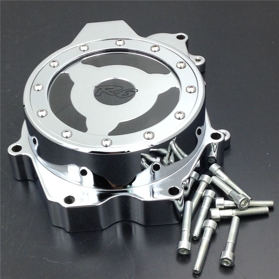 Free shipping Chrome Window Billet Aluminum Clear Stator Engine Cover with for 2003-2006 Yamaha YZF R6 R6S Statorengine CoverFree shipping Chrome Window Billet Aluminum Clear Stator Engine Cover with for 2003-2006 Yamaha YZF R6 R6S Statorengine Cover