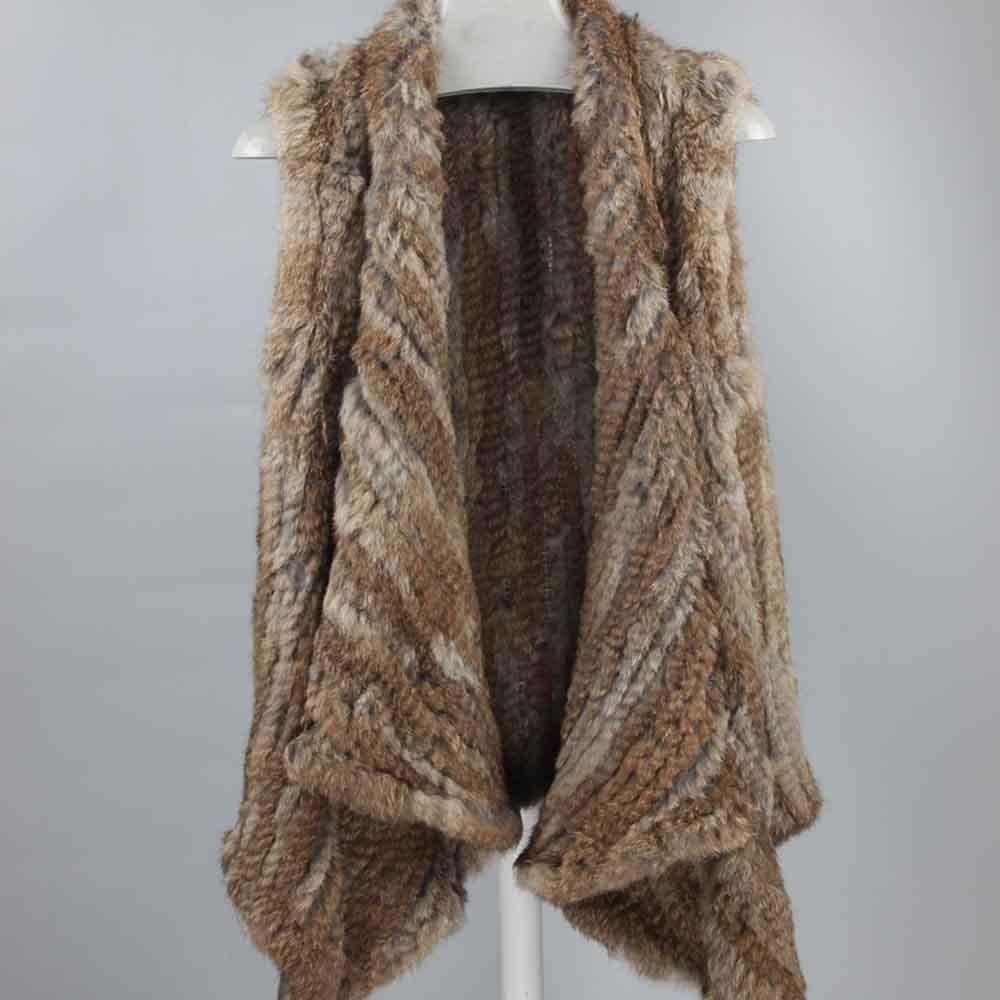 Real Rabbit Fur Vest Women Knitted Rabbit Fur Gilet Handmade Knitted Female Trend Fur Vest Nature Waistcoat Export Fur TBFP779