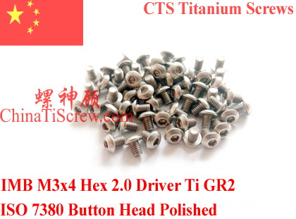 Titanium screw M3X4 ISO 7380 Button Head  Hex 2.0 Driver Ti GR2 Polished 50 pcs 50pcs lot iso7380 m3 x 6 pure titanium button head hex socket screw