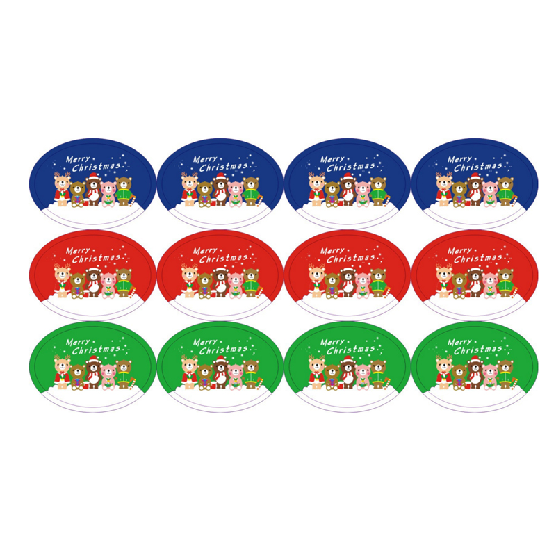120pcs/Lot Cute Bear Oval Shaped Merry Christmas  Cake Packaging Sealing Label Sticker Adhesive Gift Stationery Sticker
