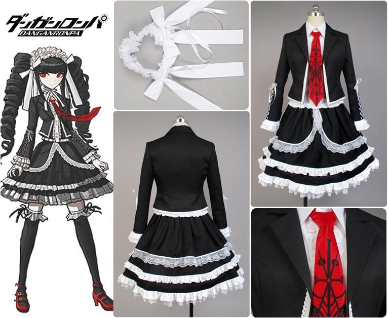Dangan-Ronpa Danganronpa Celestia Ludenberg Cosplay Costume Dress Uniform Girls Top Shirt Skirt Anime Halloween Cosplay Costumes