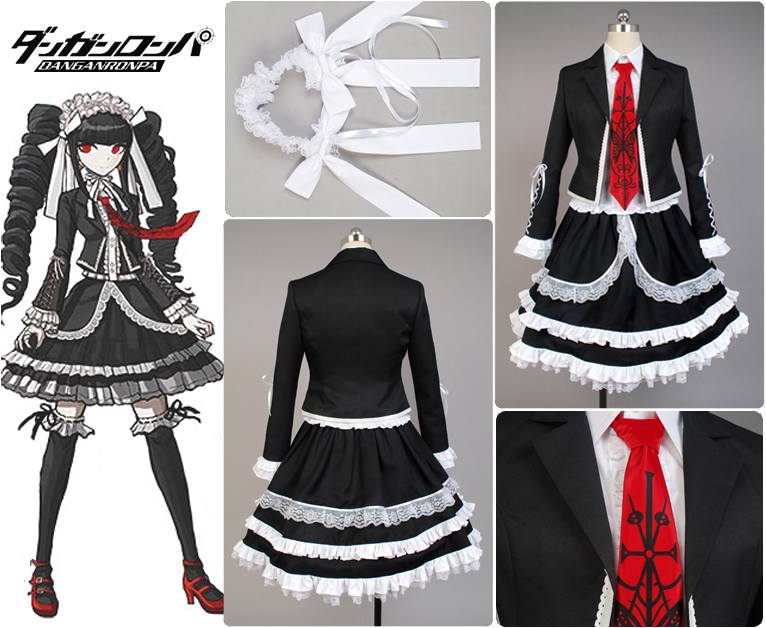 Dangan-Ronpa Danganronpa Celestia Ludenberg Uniform Girls Top Shirt Lace Skirt Anime Halloween Cosplay Costumes For Women