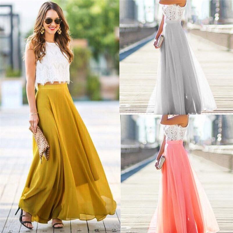 HOT sell Fashion 2018 Summer style skirts womens Chiffon Stretch High Waist Maxi Skater Flared Pleated Long Skirt Saia Y05#N (9)