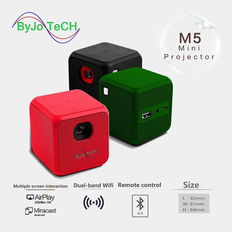 Humor Byjotech M5 Mini Projector Android Dual Band Wifi Draadloze Synchronisatie Scherm Bluetooth 1080 P Home Cinema Batterij Proyector Op Reis