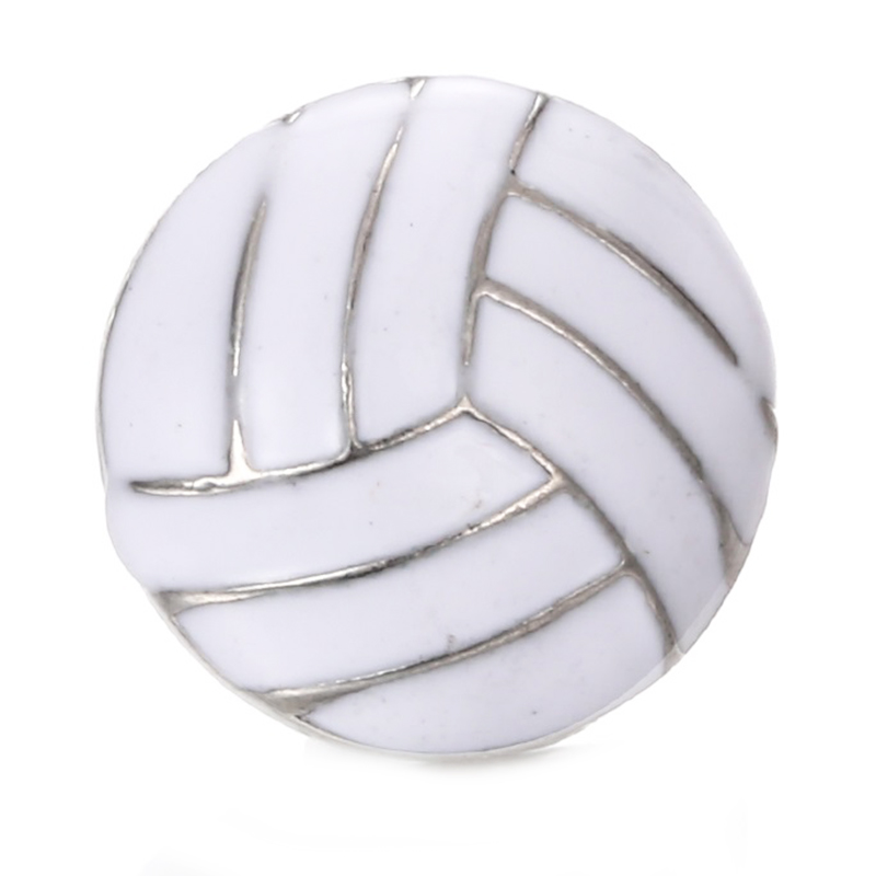 10pcs/lot New Sports Snap Jewelry 18mm Snap Buttons Jewelry Accessories fit Snap Bracelet Bangles Volleyball Jewelry