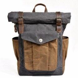 ¡Nuevo! Mochila de lona de piel encerada Estilo Vintage M166, mochila impermeable de gran capacidad para viajar y adolescentes, mochila para ordenadores portátiles de 14