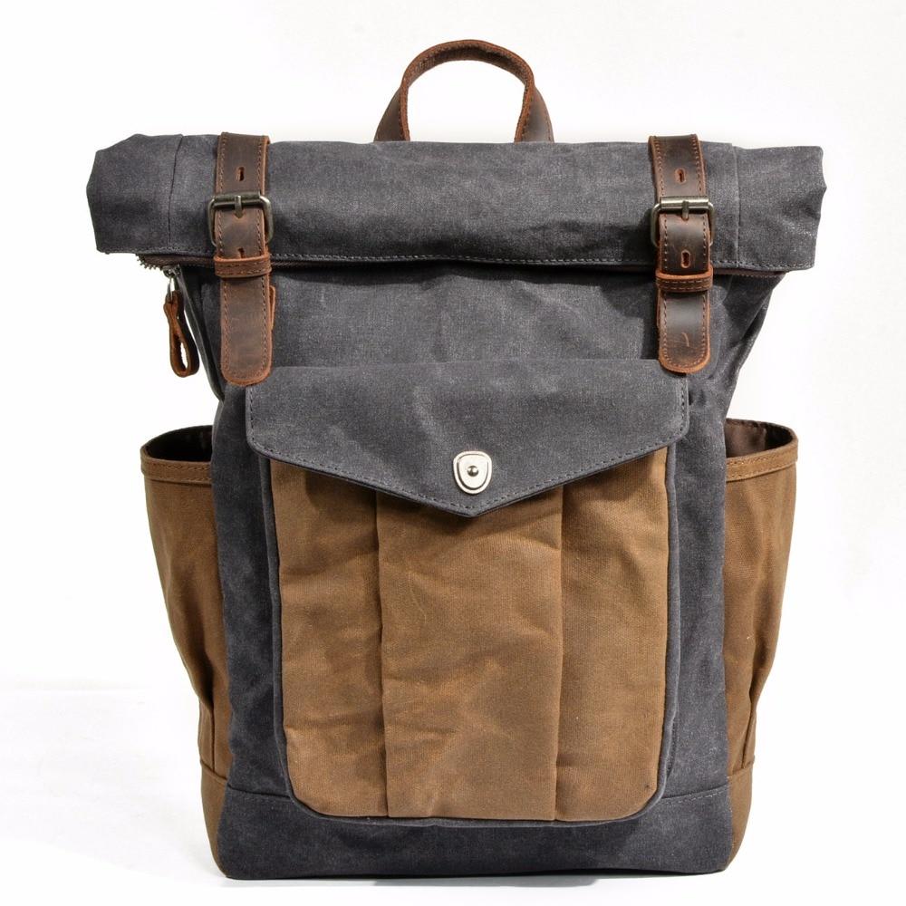 "M166 New Vintage Oil Waxed Canvas Leather Backpack Large Capacity Teenager Traveling Waterproof Daypacks 14"" Laptops Rucksack"