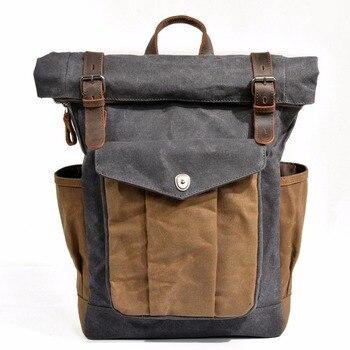 M166 mochila de lona em óleo impermeável, mochila para laptops de 14 polegadas, vintage, ideal para viagens