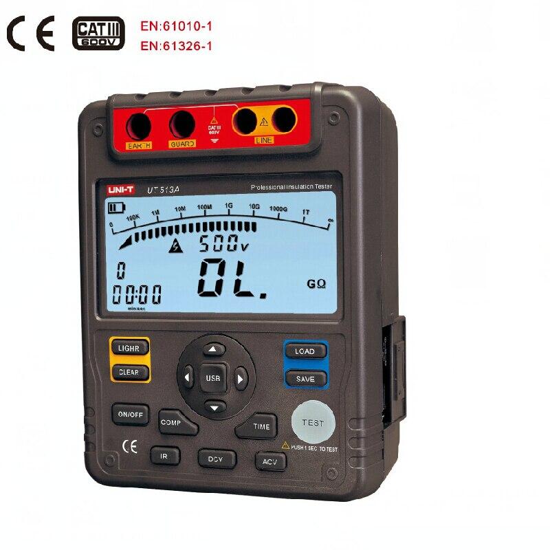 UNI T UT513A testeur de résistance d'isolation Mégohmmètre Voltmètre 5000 V 1000G ohm w/interface usb Terre Mètres Du Sol