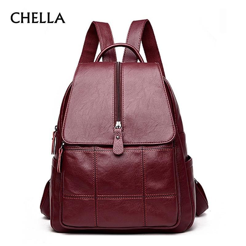 Women Backpack PU Leather Plaid Travel Female Backpacks New Fashion Zipper Designer Girl School Bags Teenager Bag Mochila BP0191