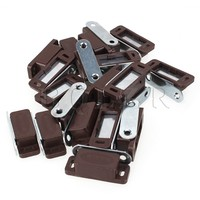 20PCS Brown Plastic Shell Metal Plate Cabinet Door Cupboard Magnetic Latch Catch