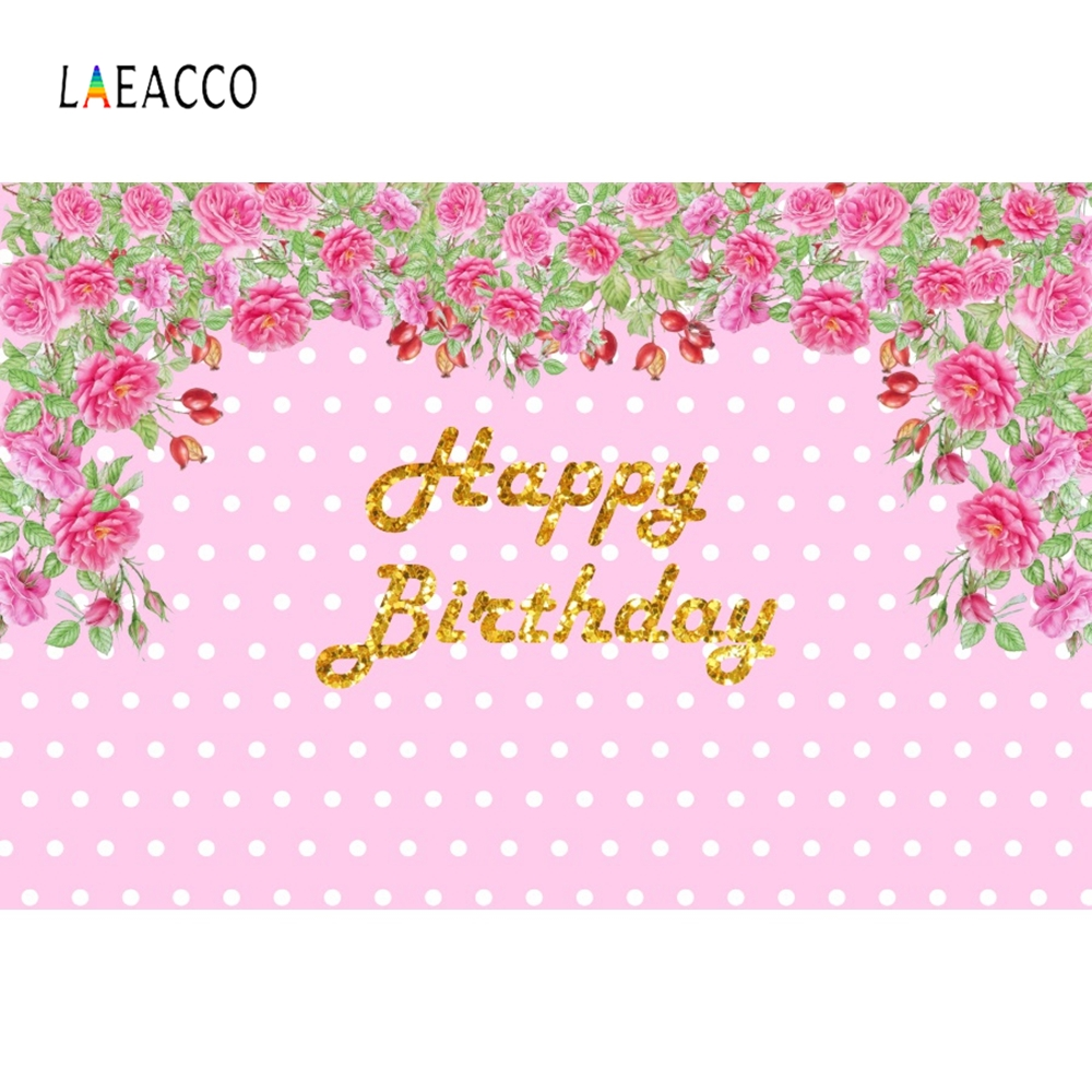 Laeacco Pink Flowers Vine Backdrop Children Birthday Portrait Photography Background Photographic Backdrops For Photo Studio