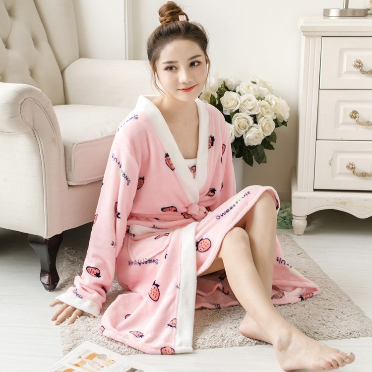 2PCS Sexy Thick Warm Flannel Robes Sets for Women 2018 Winter Coral Velvet Lingerie Night Dress Bathrobe Two Piece Set Nightgown 312