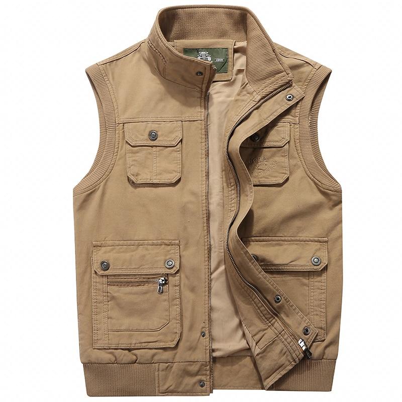 Vest Jacket Sleeveless Men Vest Male Many Pocket Waistcoat Photographer Autumn Unloading Tactical Stand Collar Multi Pocket Vest