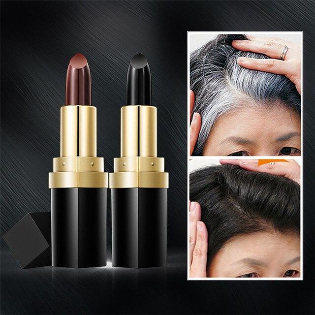 QiBest Temporäre Haar Lippenstift Abdeckung Ihre Grau Weiß Haar Touch Up  Haar Farbe Lippenstift Drop Verschiffen