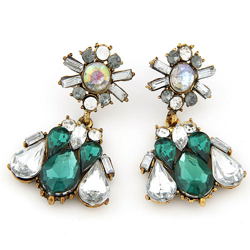 2017 Por Jewelry Accessories Vintage Earrings Green Crystal Gems Y Fashion Star Gold Drop For Women Brincos In From