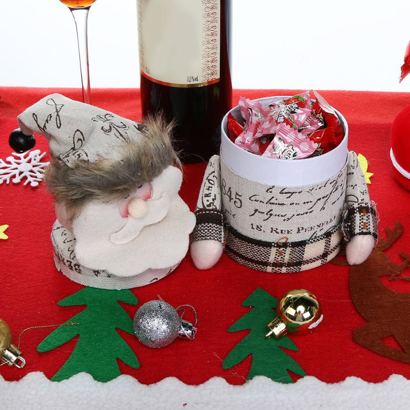 Plush Santa Claus Snowman Christmas Gift Boxs Kids Candy Jar Bottle Christmas Decoration Party Favors New Year Decor ...