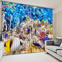 Home Bedroom Decoration 3D Curtain Ocean Coral Fish Bed Room Living Room Office Hotel Cortinas 3D Bathroom Shower Curtain