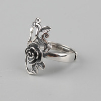 925 Sterling Silver Rose Flowers Ring 1